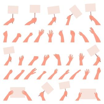Conjunto de mãos em um fundo branco e isolado. ícone. .