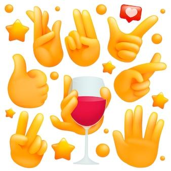 Conjunto de mãos emoji amarelo