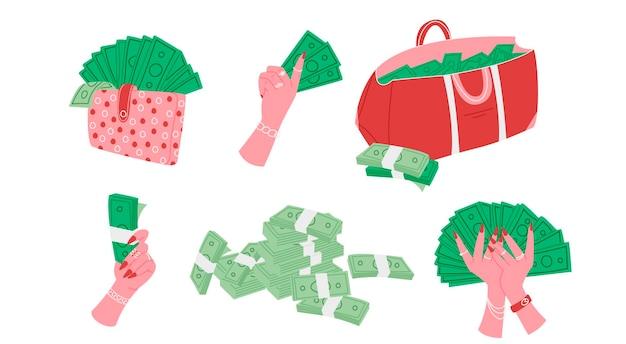Conjunto de mãos femininas segurando dinheiro em design plano