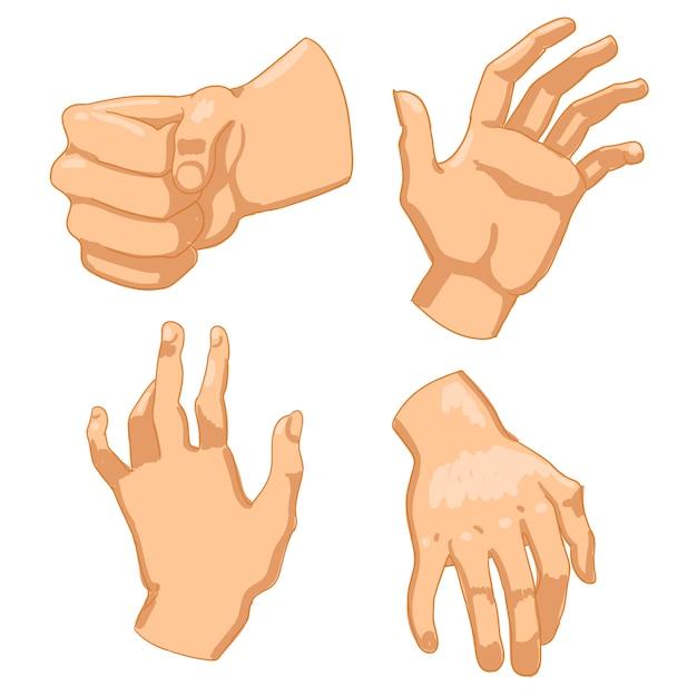Conjunto de mãos humanas em fundo branco. ilustração