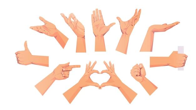 Conjunto de mãos humanas mostrando diferentes gestos comunicação linguagem gestos conceito ilustração horizontal