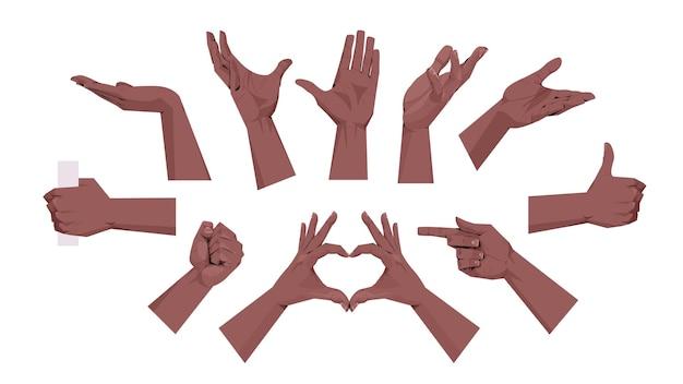 Conjunto de mãos humanas mostrando diferentes gestos, comunicação, linguagem, gestos, conceito