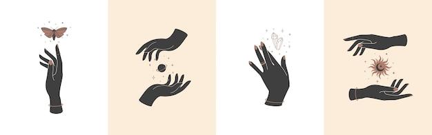 Conjunto de mãos mágicas com símbolos místicos celestiais elementos com borboleta e sol do planeta de cristal