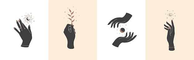 Conjunto de mãos mágicas com símbolos místicos celestiais. elementos do vetor com a planta da lua, sol e olhos