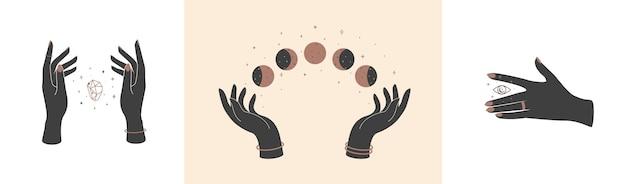 Conjunto de mãos mágicas com símbolos místicos celestiais elementos do vetor olho de cristal e fases da lua