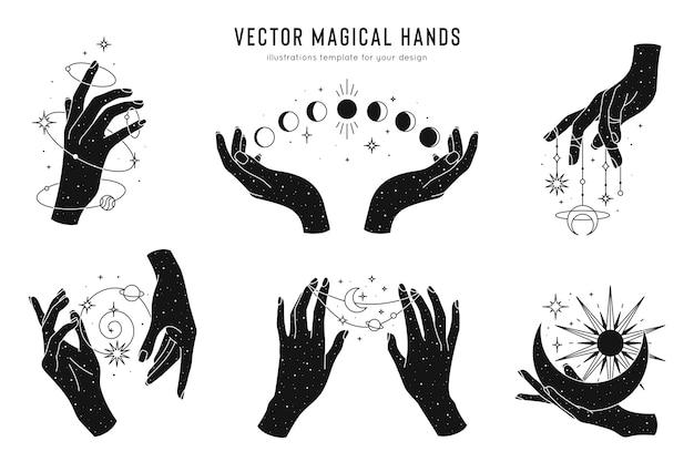 Conjunto de mãos mágicas de modelo de logotipo elementos de design esotéricos e místicos