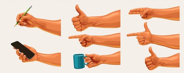 Conjunto de mãos masculinas realistas em branco