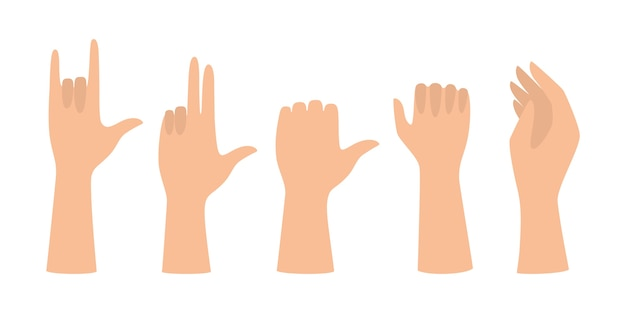 Conjunto de mãos mostrando diferentes gestos. palma apontando para algo