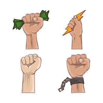 Conjunto de mãos para protesto de revolução