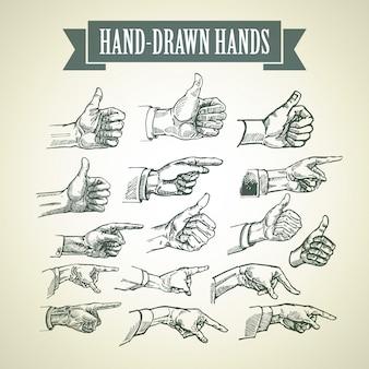 Conjunto de mãos pintadas à mão vintage.