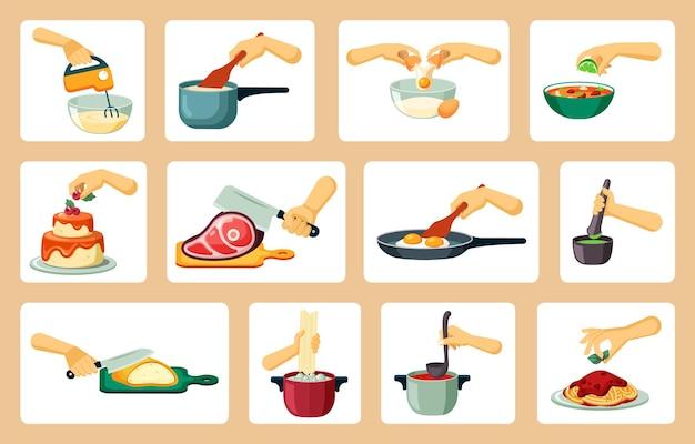 Conjunto de mãos preparando obras-primas culinárias
