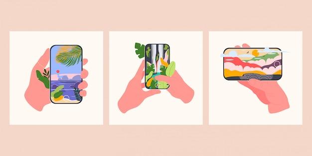 Conjunto de mãos que seguram smartphones com diferentes imagens da natureza. cachoeira, montanhas e praia. ilustração do modelo