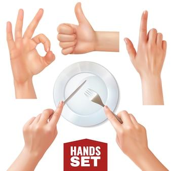 Conjunto de mãos realistas segurando talheres perto de prato vazio e vários gestos
