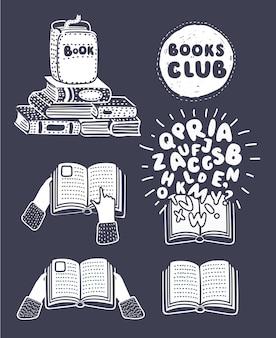 Conjunto de mãos segurando livros no escuro