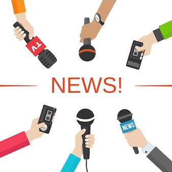 Conjunto de mãos segurando microfones e gravadores de voz. conceito de notícias e jornalismo. ilusação vetorial