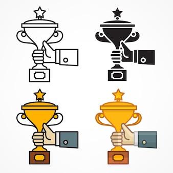 Conjunto de mãos segurando troféu