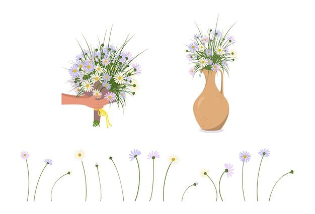 Conjunto de mãos segurando um buquê de margaridas, flores em um vaso