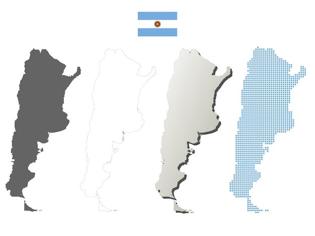 Conjunto de mapa de contorno de vetor de argentina