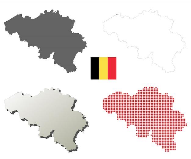 Conjunto de mapa de contorno de vetor de bélgica