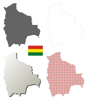 Conjunto de mapa de contorno de vetor de bolívia