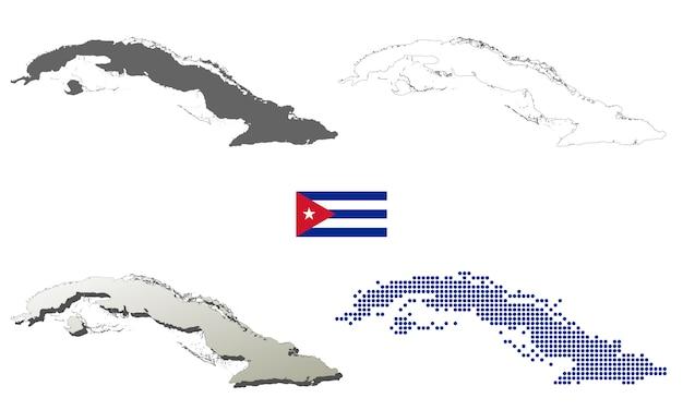 Conjunto de mapa de contorno de vetor de cuba