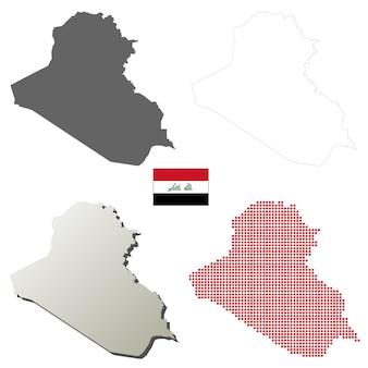 Conjunto de mapa de contorno de vetor de iraque