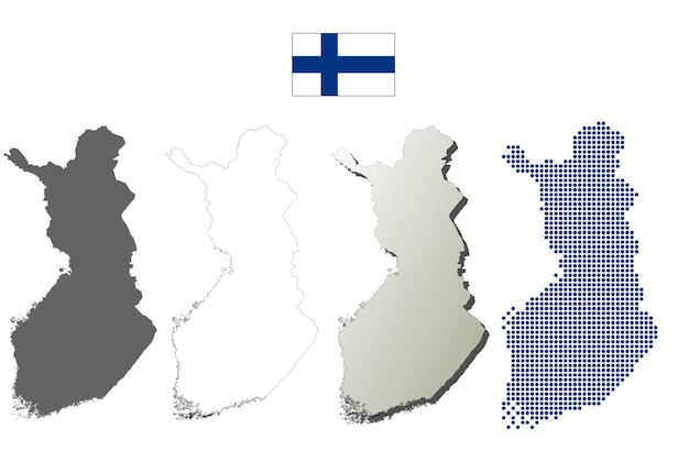 Conjunto de mapa de contorno vector finlândia