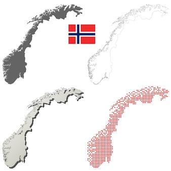 Conjunto de mapa de contorno vector noruega