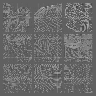 Conjunto de mapa de linhas de contorno abstrato branco e cinza