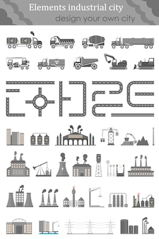 Conjunto de mapas para a cidade industrial