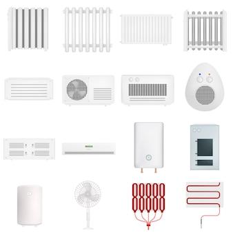 Conjunto de maqueta radiador aquecedor elétrico. ilustração realista de 16 modelos de radiador de aquecedor elétrico para web