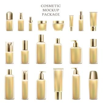 Conjunto de maquete cosmético de produtos de luxo