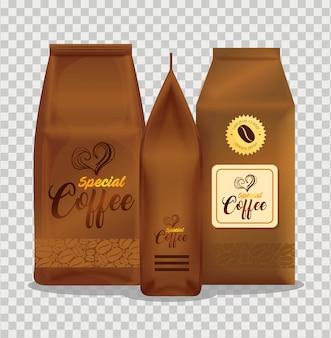 Conjunto de maquete de branding para cafeteria, restaurante, maquete de identidade corporativa, sacos de papel de café especial