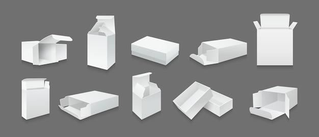 Conjunto de maquete de caixa de modelo branco coleção de caixas de presente de embalagem de produto aberta