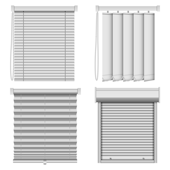 Conjunto de maquete de cortinas de janela cega