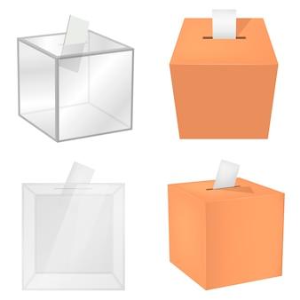Conjunto de maquete de democracia de urna de voto de urna. ilustração realista de 4 modelos de democracia de caixa de votação de cédula para web