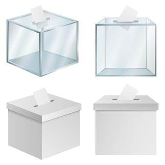 Conjunto de maquete de democracia urnas