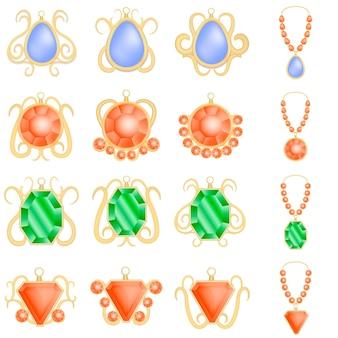 Conjunto de maquete de diamante luxo mulher joias. ilustração realista de 16 modelos de diamante de luxo mulher jóias para web