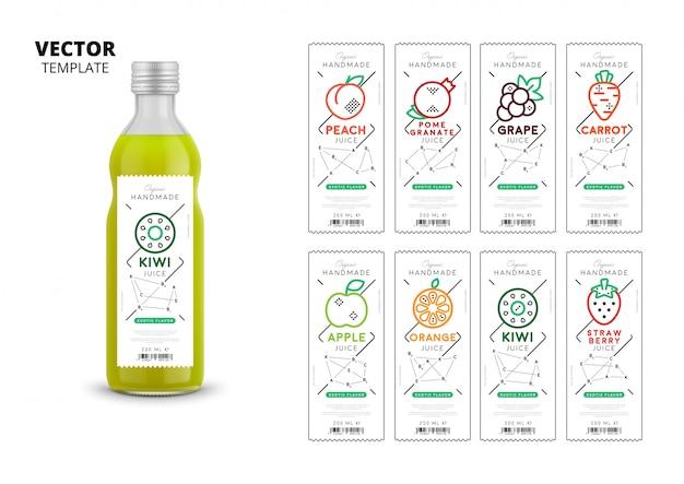 Conjunto de maquete de embalagens de suco de frutas frescas