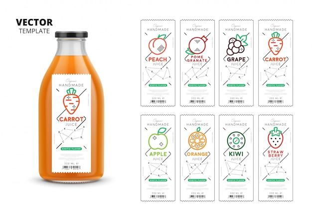 Conjunto de maquete de embalagens de suco fresco