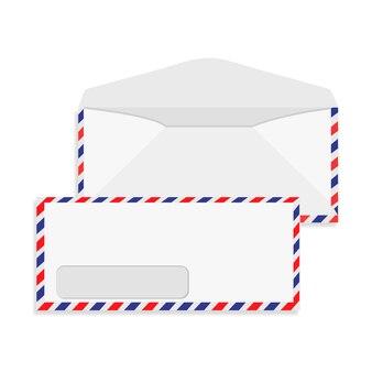 Conjunto de maquete de envelope branco