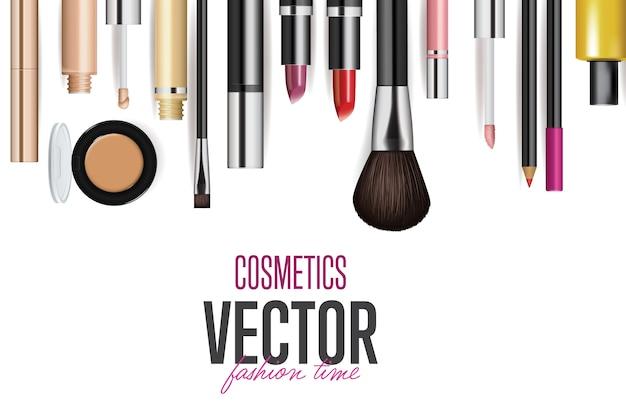 Conjunto de maquete de ferramentas cosméticas realistas