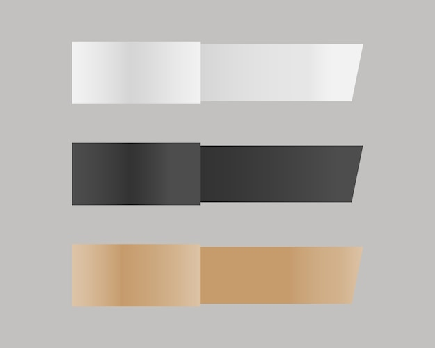 Conjunto de maquete de fita de papel. fitas de papel em branco. vetor de maquete isolado. modelo de design. realista.