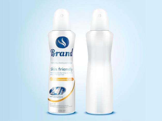 Conjunto de maquete de frasco de spray desodorante