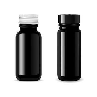 Conjunto de maquete de garrafas de vidro preto cosméticos