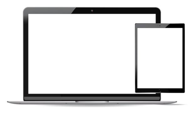 Conjunto de maquete de laptop e tablet pc