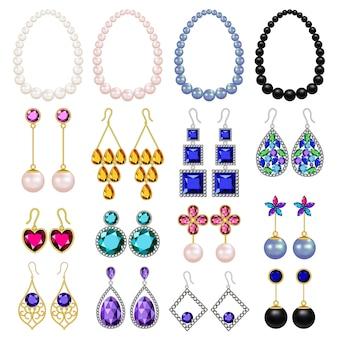 Conjunto de maquete de luxo de mulher de jóias