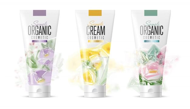 Conjunto de maquete de marca de cosméticos realista