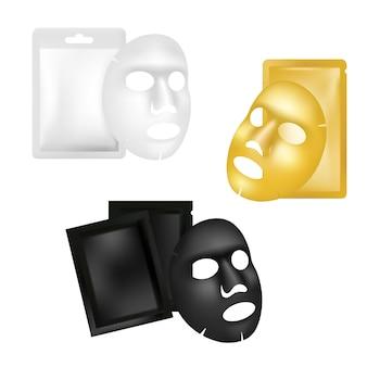 Conjunto de maquete de máscara e sachê de folha facial, ilustração realista