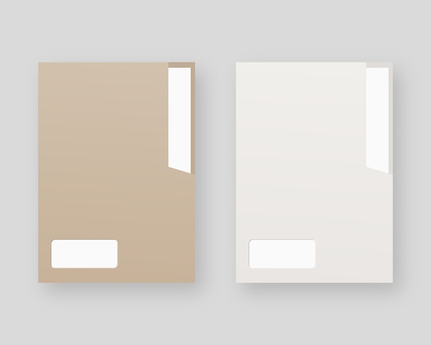 Conjunto de maquete de pasta de papel em branco. pasta de papel com papel branco.